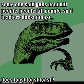 some one said guns dont kill people, people kill people. so if toasters doesnt toast...  does toast toast toast?