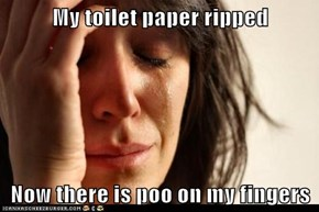 My toilet paper ripped  Now there is poo on my fingers