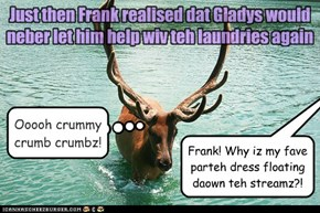 Just then Frank realised dat Gladys would neber let him help wiv teh laundries again