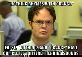 """NOTHING RHYMES WITH ORANGE.""  FALSE! ""NOTHING"" AND ""ORANGE"" HAVE COMPLETELY DIFFERENT ENDING SOUNDS."