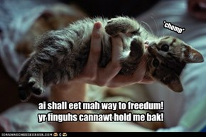 ai shall eet mah way to freedum! yr finguhs cannawt hold me bak!