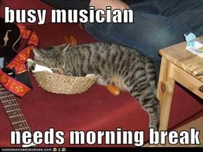 busy musician  needs morning break