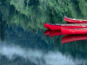 Canoes on a Calm Lake