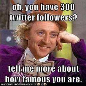 oh, you have 300 twitter followers?  tell me more about how famous you are.