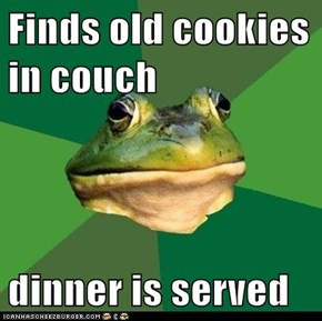 Finds old cookies in couch  dinner is served