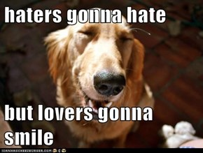 haters gonna hate  but lovers gonna smile