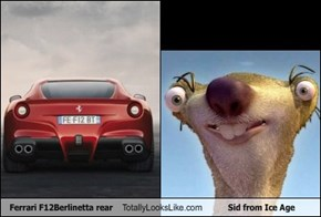 Ferrari F12Berlinetta rear Totally Looks Like Sid from Ice Age