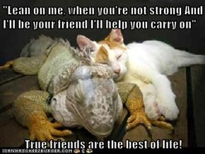 """Lean on me, when you're not strong And I'll be your friend I'll help you carry on""  True friends are the best of life!"