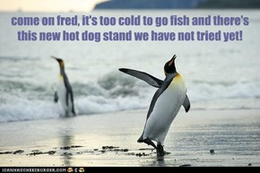 come on fred, it's too cold to go fish and there's this new hot dog stand we have not tried yet!