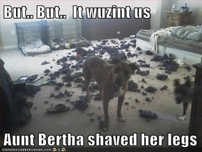 But.. But..  It wuzint us  Aunt Bertha shaved her legs