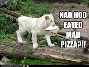 NAO HOO EATED MAH PIZZA?!!