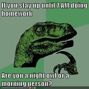 If you stay up until 7 AM doing homework  Are you a night owl or a morning person?