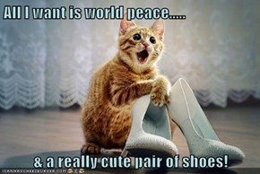 All I want is world peace.....  & a really cute pair of shoes!