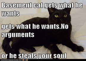 Basement cat gets what he wants gets what he wants.No arguments  or he steals your soul