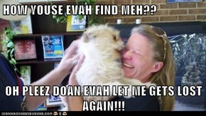 HOW YOUSE EVAH FIND MEH??  OH PLEEZ DOAN EVAH LET ME GETS LOST AGAIN!!!