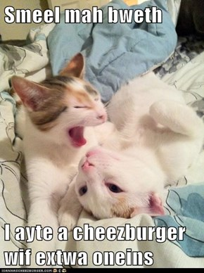 Smeel mah bweth  I ayte a cheezburger wif extwa oneins