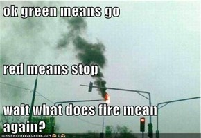 ok green means go red means stop wait what does fire mean again?