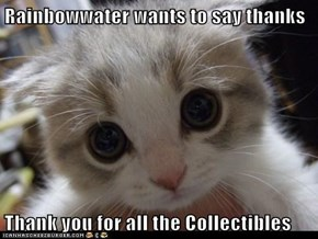 Rainbowwater wants to say thanks  Thank you for all the Collectibles
