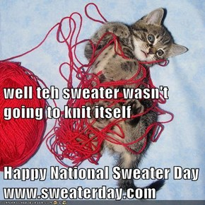 well teh sweater wasn't going to knit itself Happy National Sweater Day  www.sweaterday.com