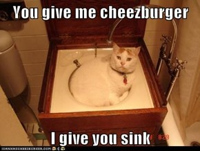 You give me cheezburger  I give you sink