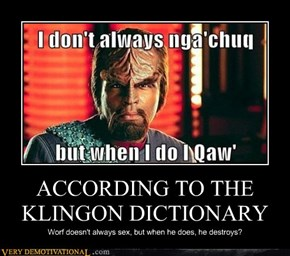 ACCORDING TO THE KLINGON DICTIONARY