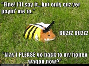 """Fine! I'll say it...but only cuz yer payin' me to."" BUZZZ BUZZZ ""May I PLEASE go back to my honey wagon now?"""