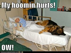 My hoomin hurts!  OW!