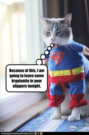 Because of this, I am going to leave some kryptonite in your slippers tonight.