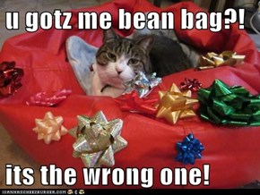 u gotz me bean bag?!  its the wrong one!