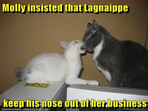 Molly insisted that Lagnaippe  keep his nose out of her business