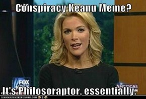 Conspiracy Keanu Meme?  It's Philosoraptor, essentially.
