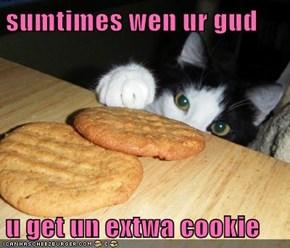 sumtimes wen ur gud  u get un extwa cookie