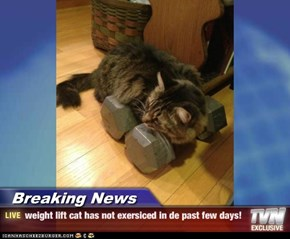 Breaking News - weight lift cat has not exersiced in de past few days!