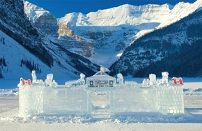 Annual ice castle at The Fairmont Chateau Lake Louise, Canada