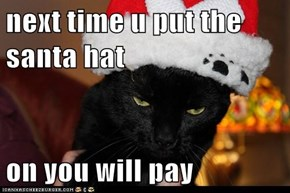 next time u put the santa hat  on you will pay