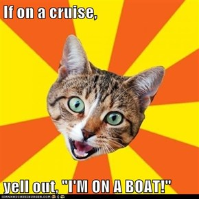 "If on a cruise,  yell out, ""I'M ON A BOAT!"""