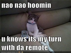 nao nao hoomin  u knows its my turn with da remote
