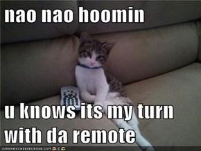 nao nao hoomin  u knows its my turn with da remote