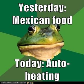 Yesterday: Mexican food  Today: Auto-heating