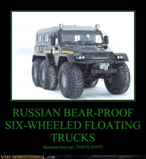 RUSSIAN BEAR-PROOF SIX-WHEELED FLOATING TRUCKS