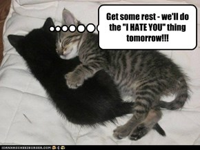 "Get some rest - we'll do the ""I HATE YOU"" thing tomorrow!!!"