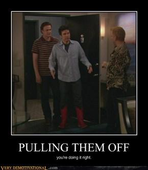 Pulling them off.