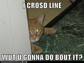 I CROSD LINE  WUT U GONNA DO BOUT IT?