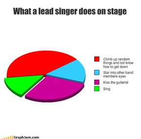 What a lead singer does on stage