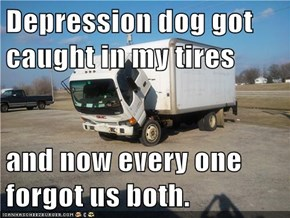 Depression dog got caught in my tires  and now every one forgot us both.