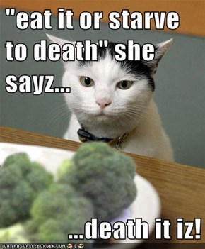 """eat it or starve to death"" she sayz...  ...death it iz!"