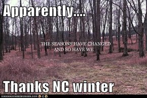 Apparently....  Thanks NC winter