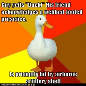 """Guy yells """"Duck!"""" His friend acknowledges a webbed-footed presence.  Is promptly hit by airborne artillery shell"""