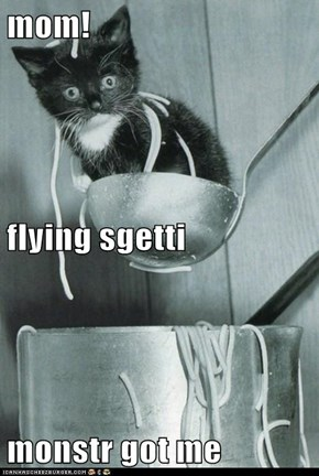 mom! flying sgetti  monstr got me