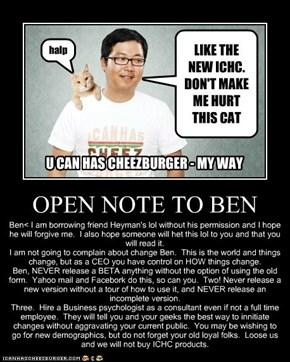 OPEN NOTE TO BEN